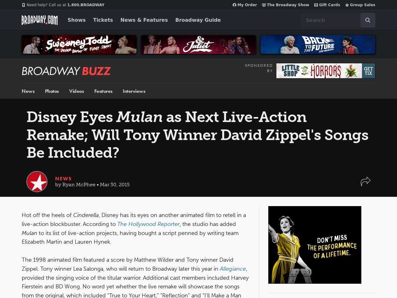 Disney Eyes Mulan as Next Live-Action Remake; Will Tony …