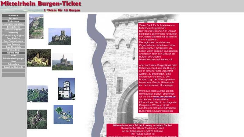 www.burgen-am-rhein.de Vorschau, Mittelrhein Burgen-Ticket