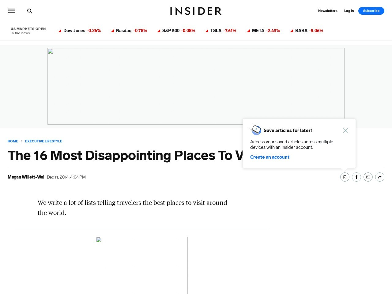 Reddit's Most Disappointing Travel Places – Business Insider