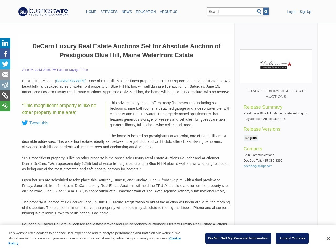 DeCaro Luxury Real Estate Auctions Set for Absolute Auction of Prestigious …