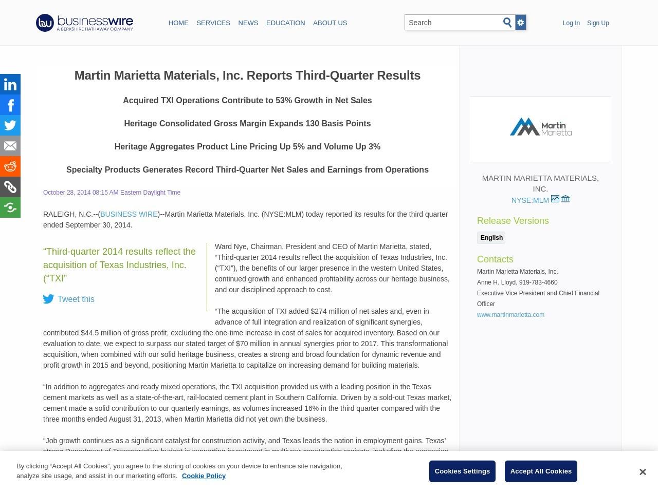 Martin Marietta Materials, Inc. Reports Third-Quarter Results