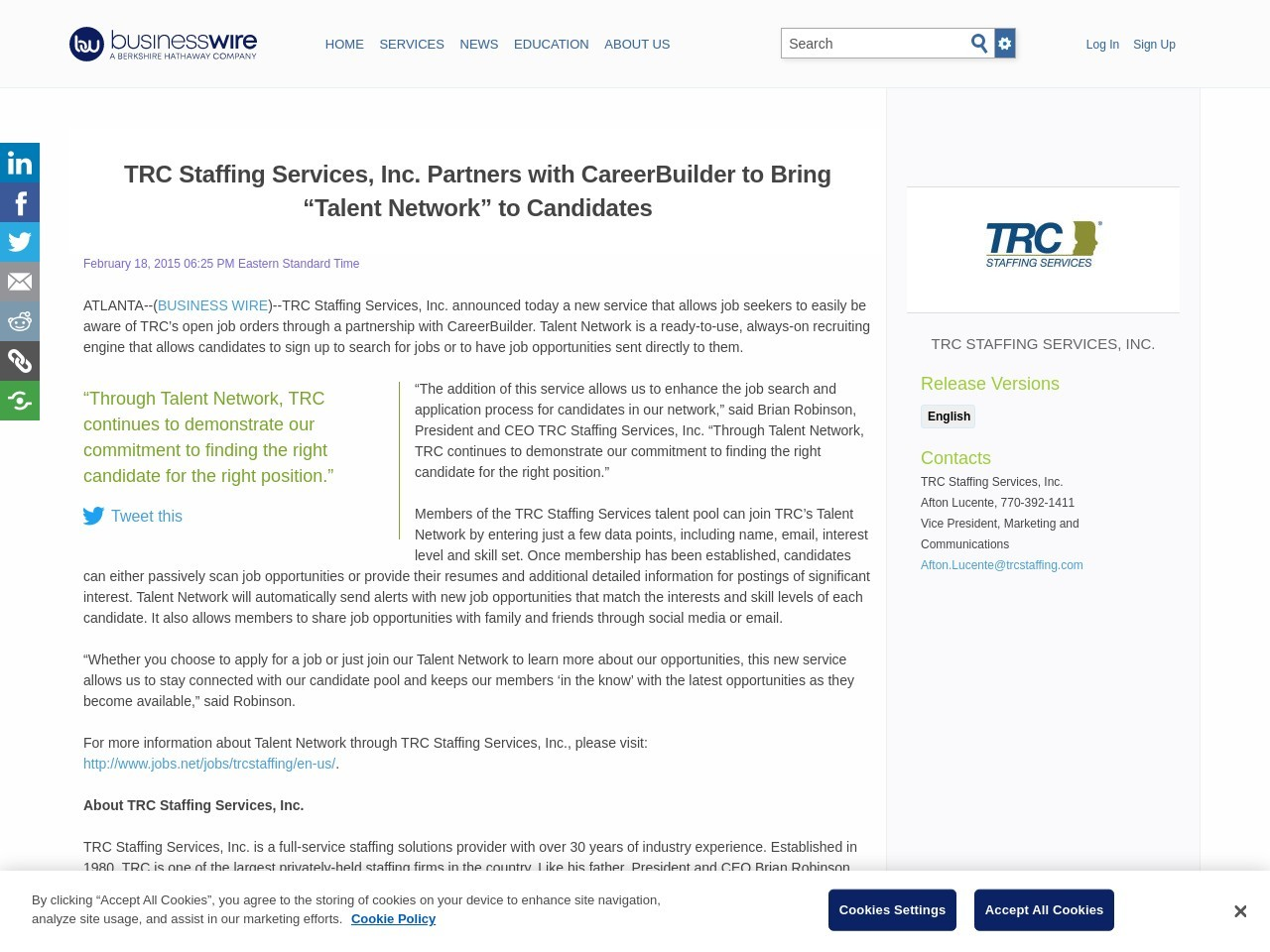 "TRC Staffing Services, Inc. Partners with CareerBuilder to Bring ""Talent …"