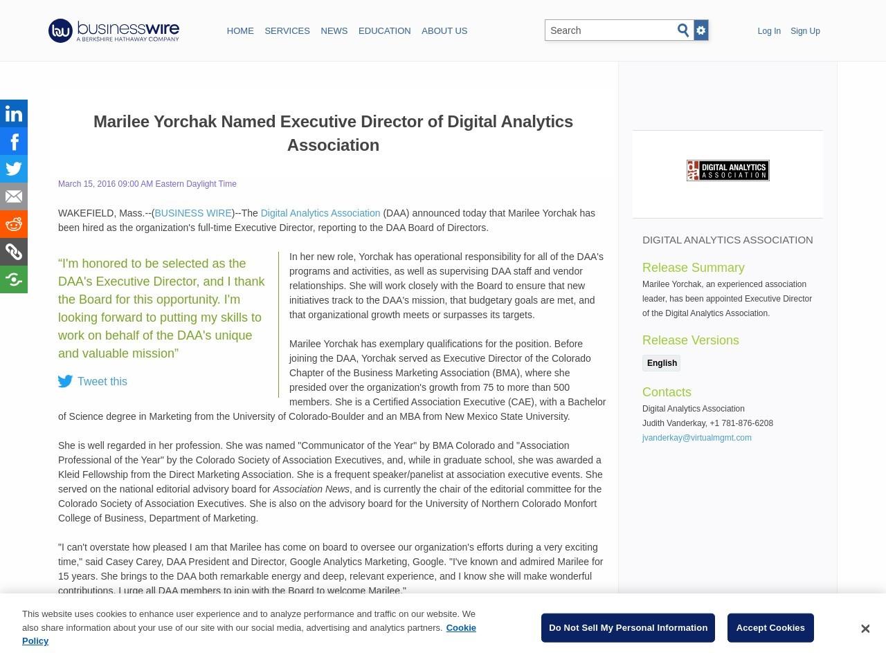 Marilee Yorchak Named Executive Director of Digital Analytics Association
