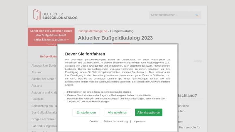 www.bussgeldkataloge.de Vorschau, Bußgeldkatalog