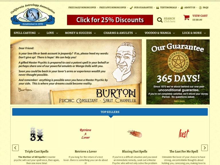 California Astrology Association screenshot