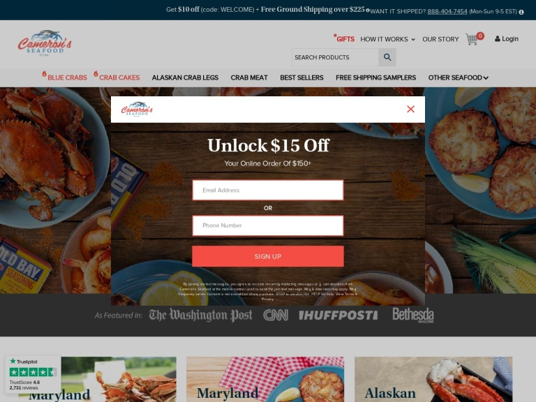 Camerons Seafood Online screenshot
