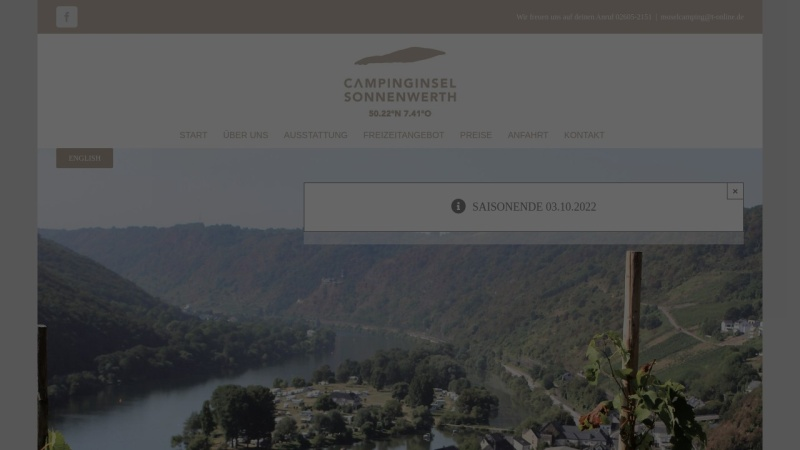 www.campinginsel-hatzenport.de Vorschau, Campingplatz Sonnenwerth