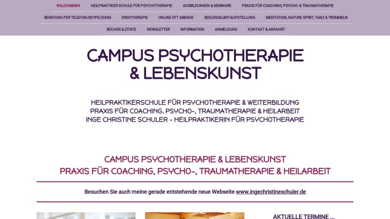 www.campuspsychotherapie.de Vorschau, Campus Psychotherapie - Inge Christine Schuler
