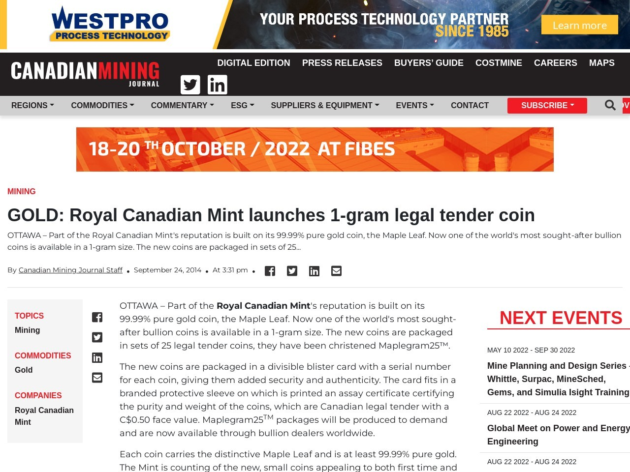 GOLD: Royal Canadian Mint launches 1-gram legal tender coin