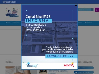 Captura de pantalla para capitalsalud.gov.co