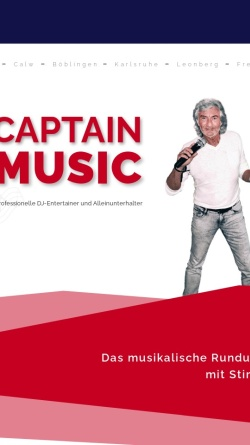 Vorschau der mobilen Webseite www.captain-music.de, DJ Captain Music