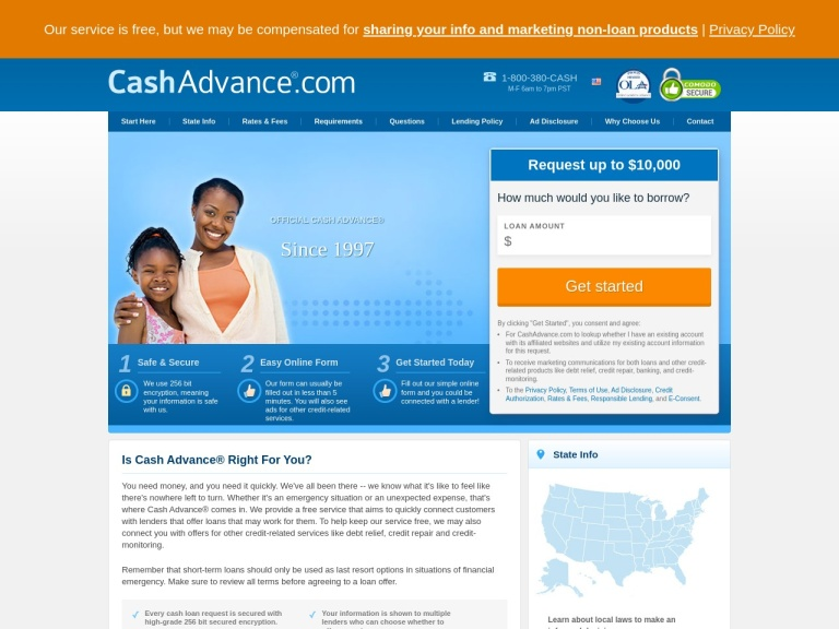 Cashadvance.com screenshot