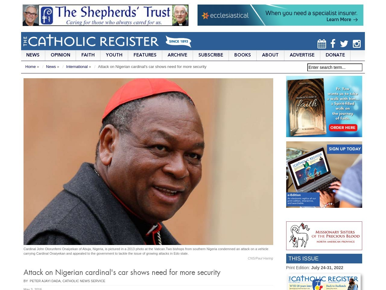 Attack on Nigerian cardinal's car shows need for more security