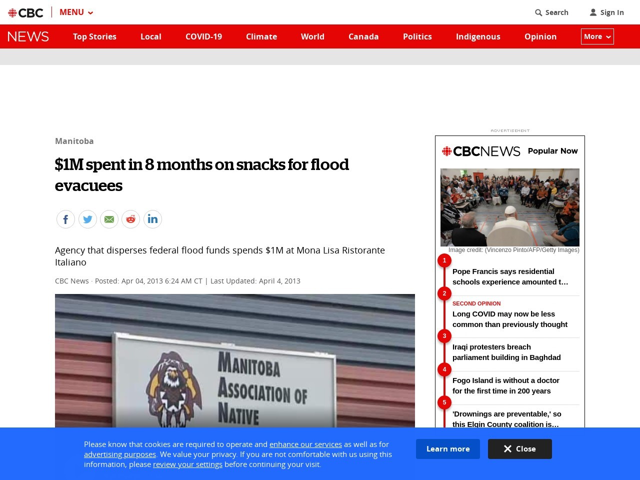 $1M spent in 8 months on snacks for flood evacuees
