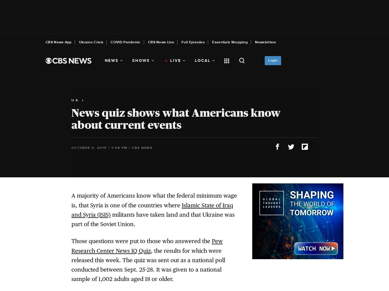 News quiz shows what Americans know about current events