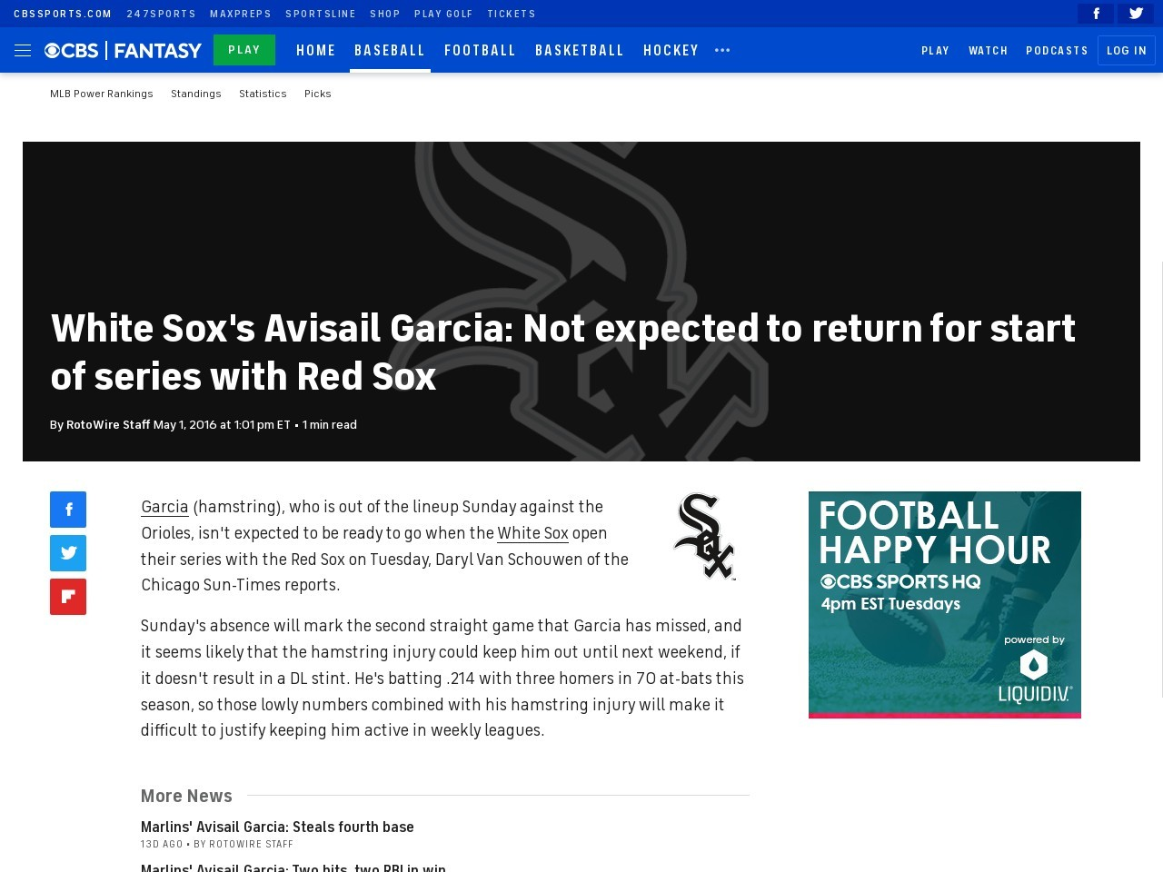 White Sox's Avisail Garcia: Not expected to return for start of series with …