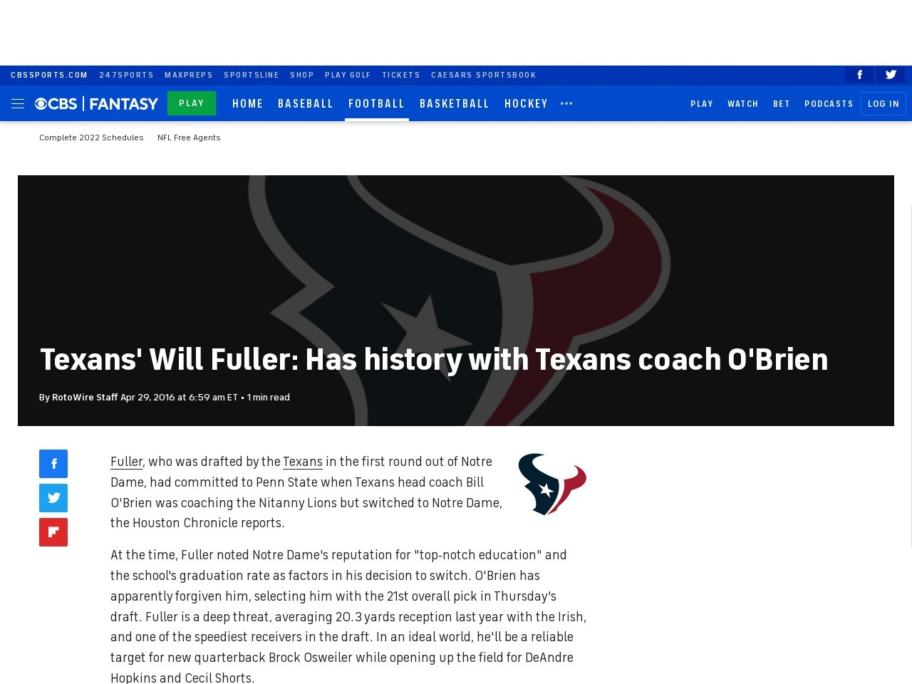 Texans' Will Fuller: Has history with Texans coach O'Brien