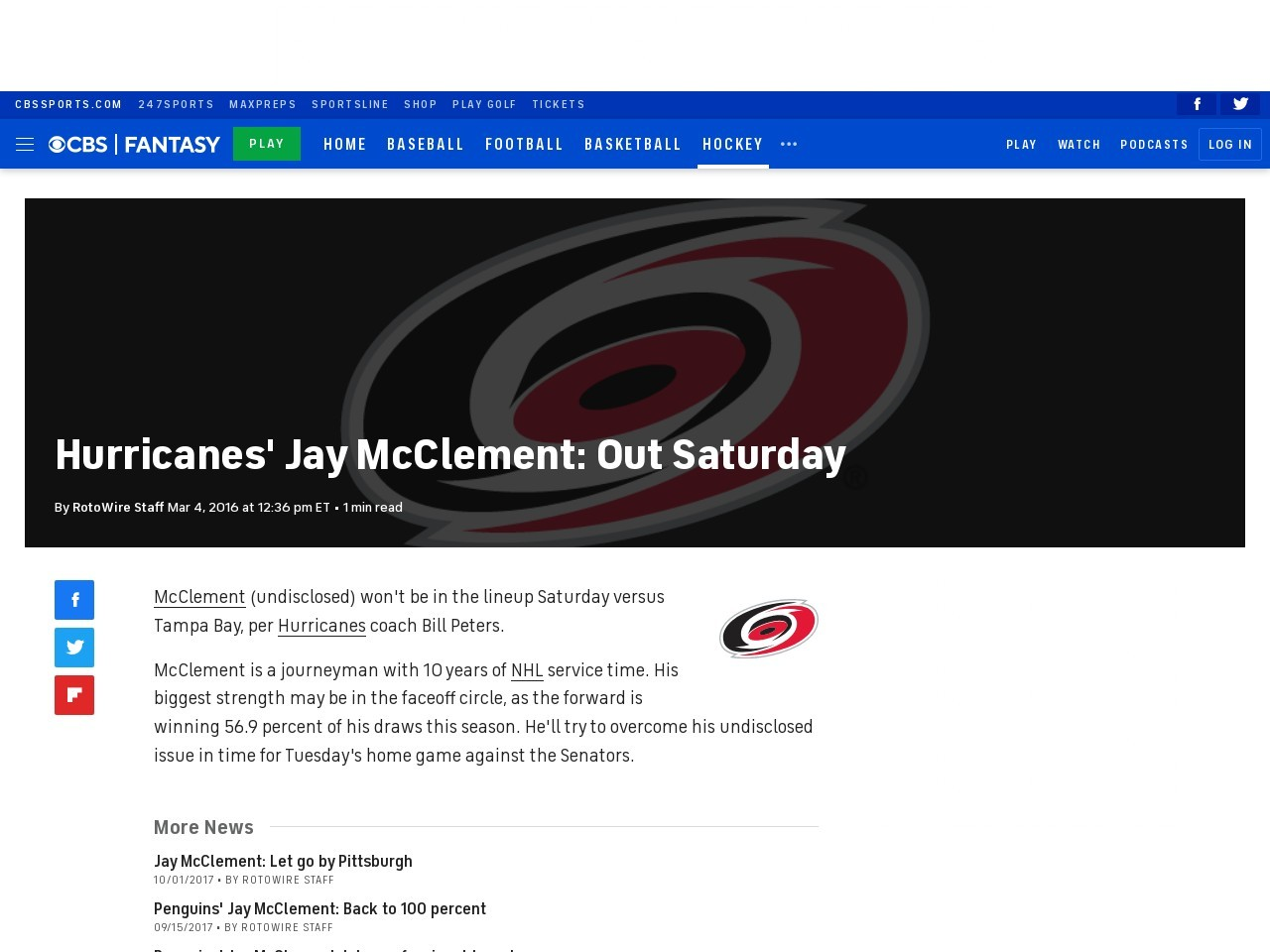 Hurricanes' Jay McClement: Out Saturday