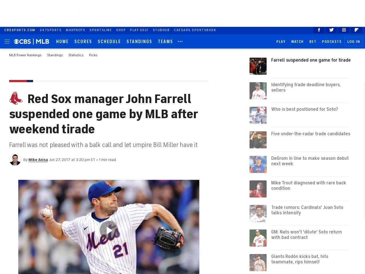 Red Sox manager John Farrell suspended one game by MLB after weekend tirade