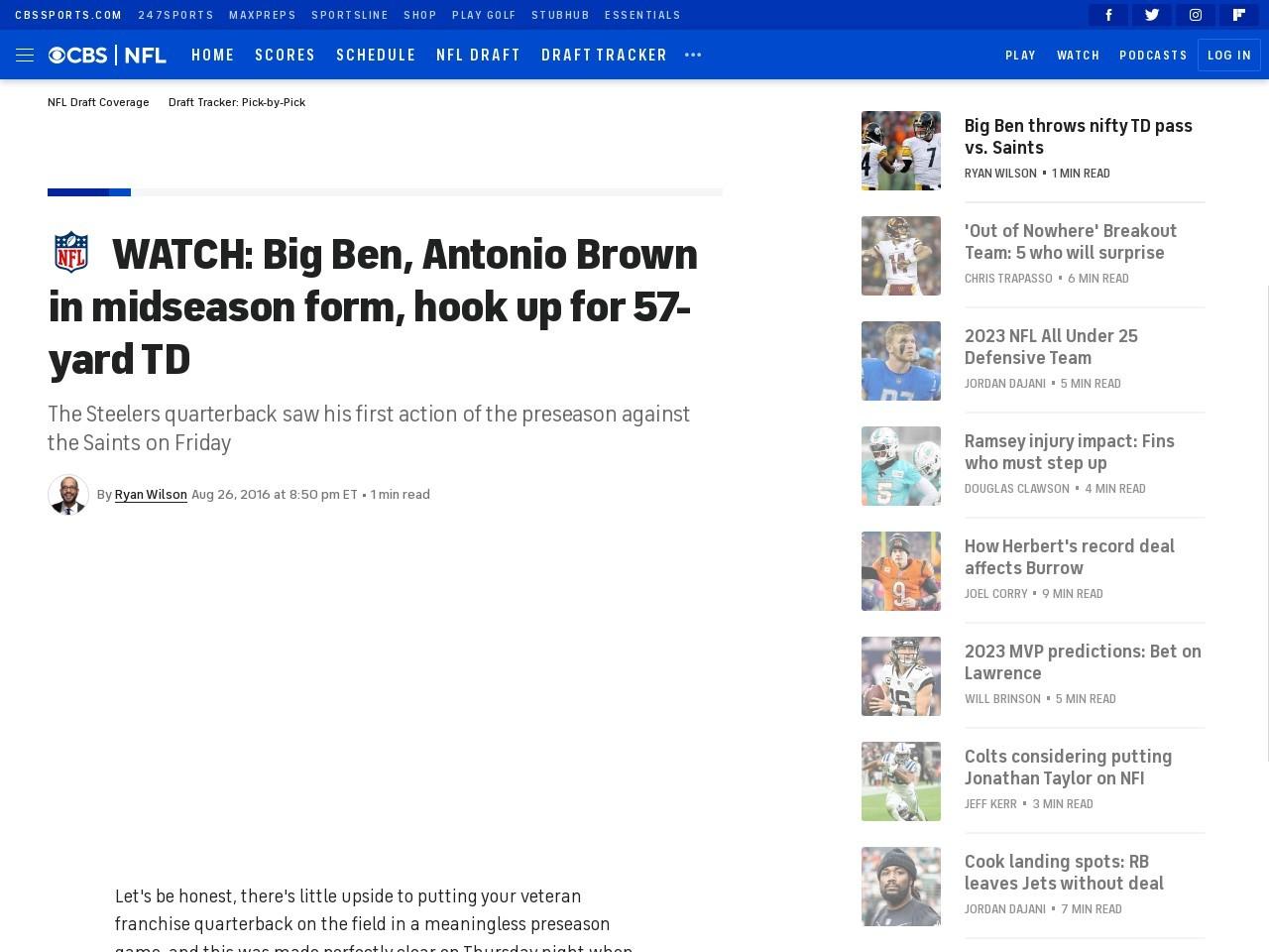 WATCH: Big Ben, Antonio Brown in midseason form, hook up for 57-yard TD
