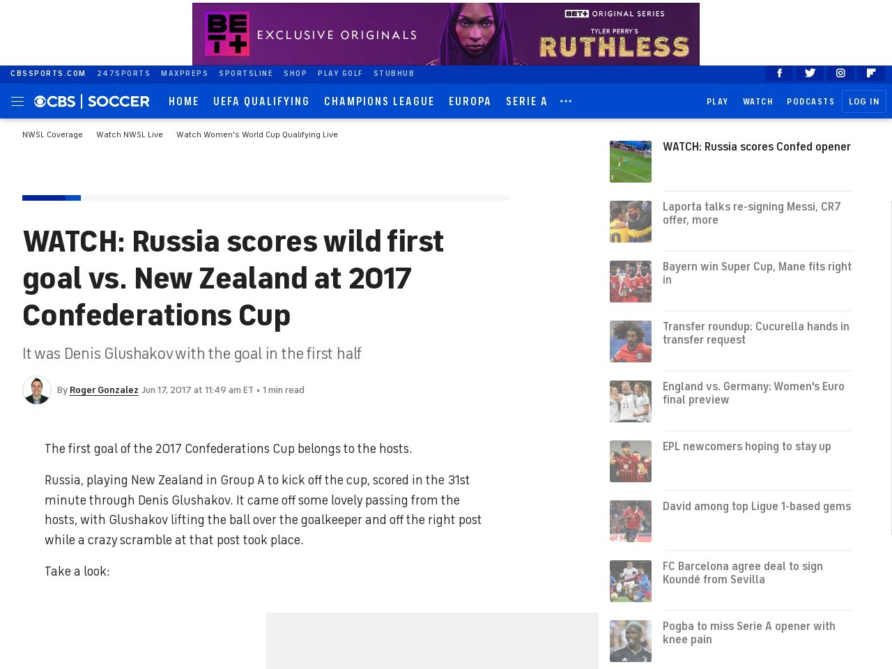 WATCH: Russia scores wild first goal vs. New Zealand at 2017 Confederations Cup