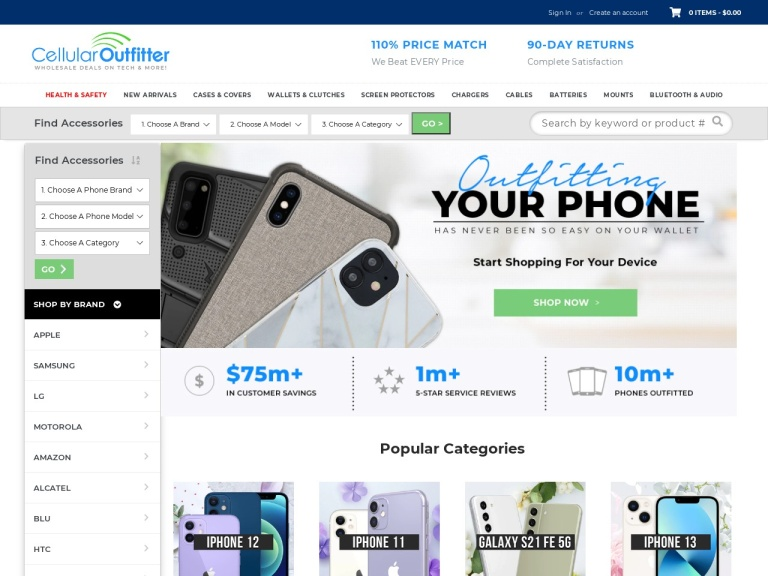 Cellularoutfitter.com screenshot