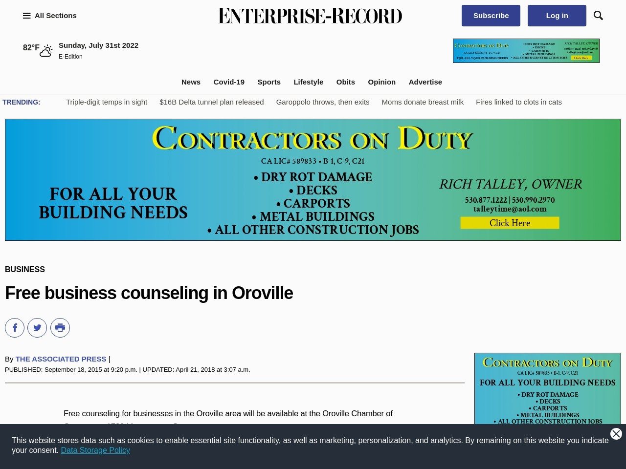 Free business counseling in Oroville