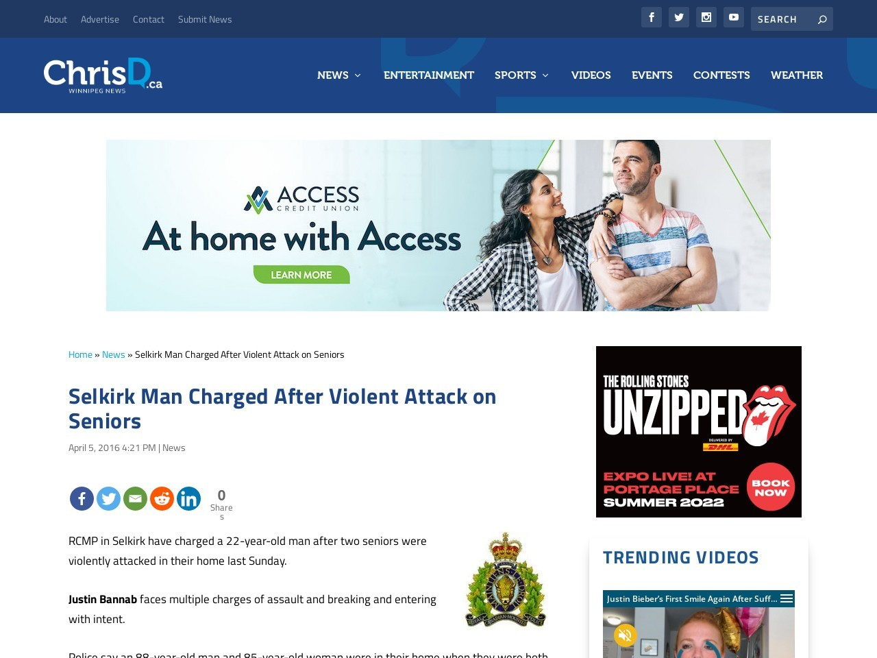 Selkirk Man Charged After Violent Attack on Seniors