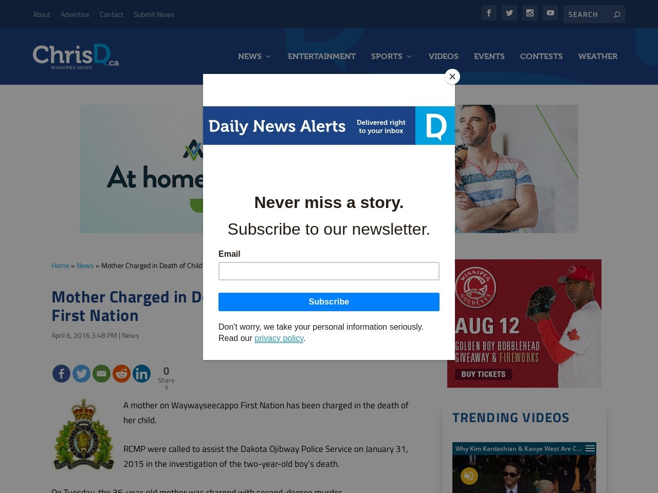 Mother Charged in Death of Child on Manitoba First Nation