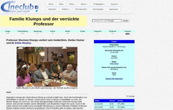 Vorschau von www.cineclub.de, Cineclub - Filmkritik: Familie Klumps und der verrückte Professor