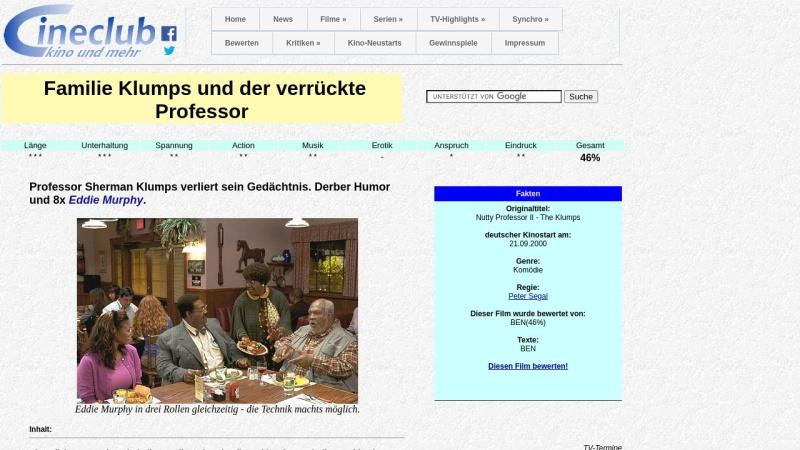 www.cineclub.de Vorschau, Cineclub - Filmkritik: Familie Klumps und der verrückte Professor