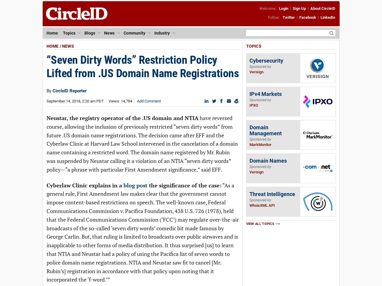 """Seven Dirty Words"" Restriction Policy Lifted from .US Domain Name Registrations"