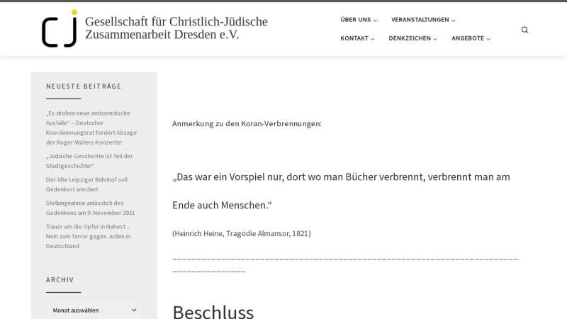 www.cj-dresden.de Vorschau, Dresden - Gesellschaft für christlich-jüdische Zusammenarbeit
