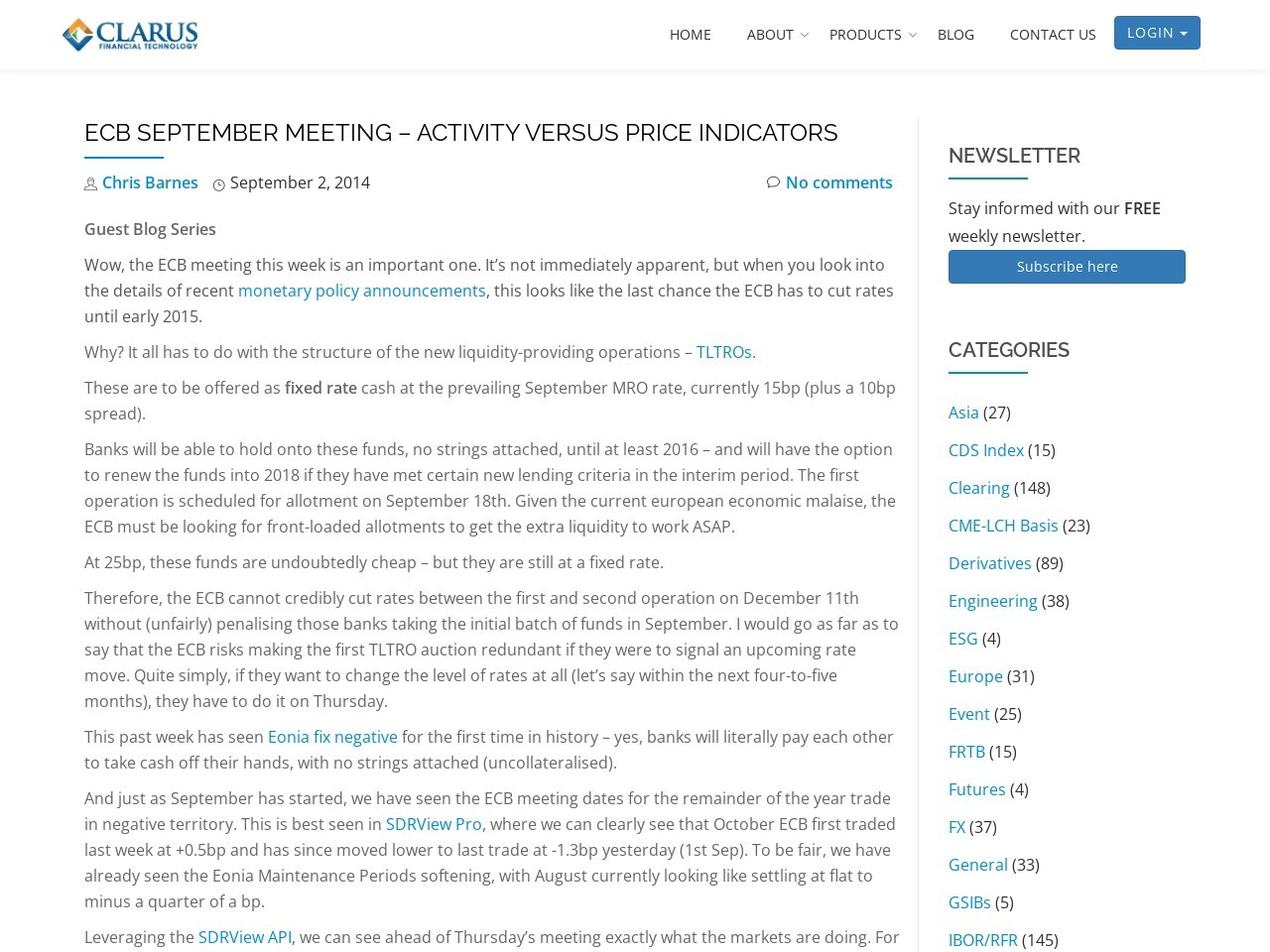ECB September Meeting – Activity versus Price Indicators …