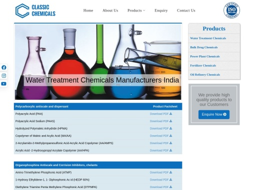 Water Treatment Chemicals Manufacturers in India – Classic Chemicals