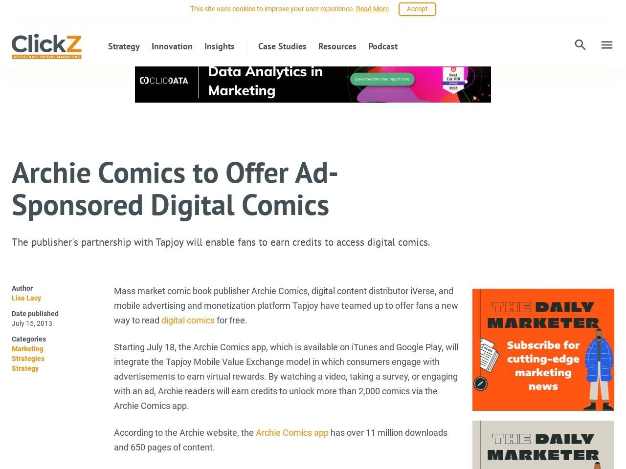 Archie Comics to Offer Ad-Sponsored Digital Comics