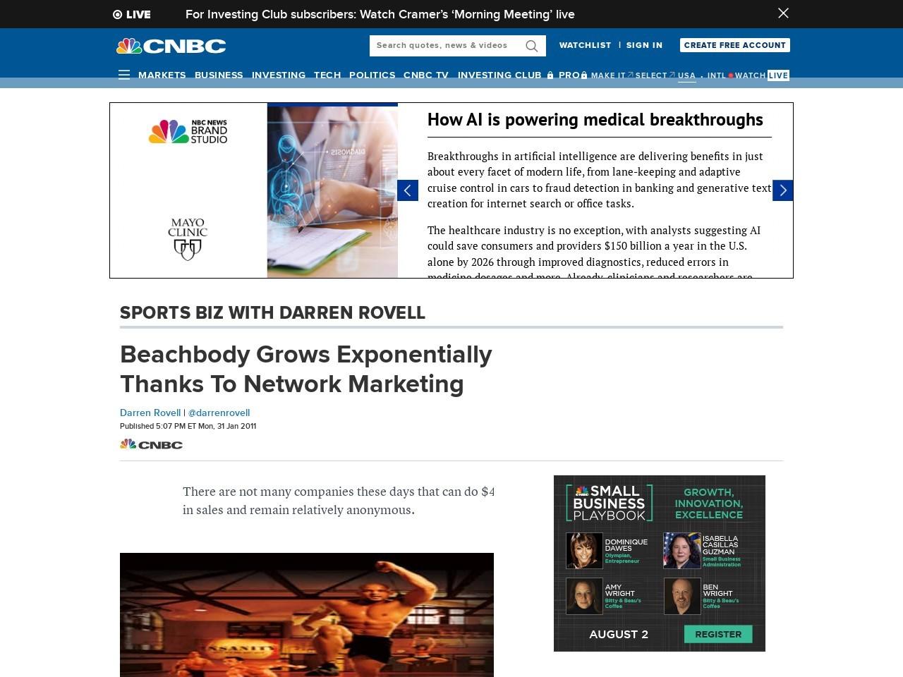 Beachbody Grows Exponentially Thanks To Network Marketing
