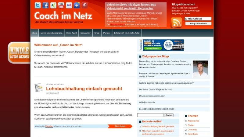 www.coach-im-netz.de Vorschau, Internetmarketing für Coaches, Trainer und Berater