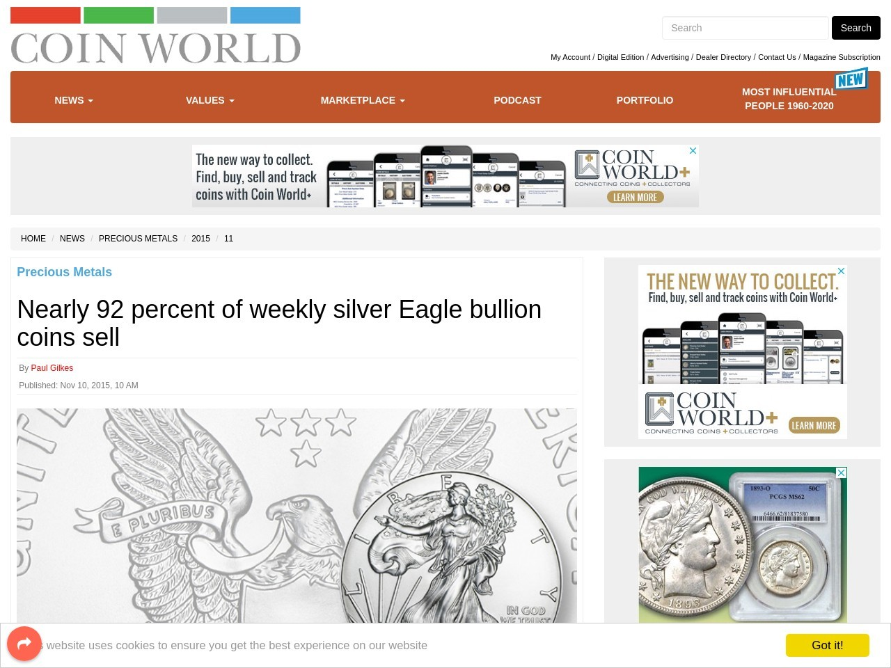 Nearly 92 percent of weekly silver Eagle bullion coins sell