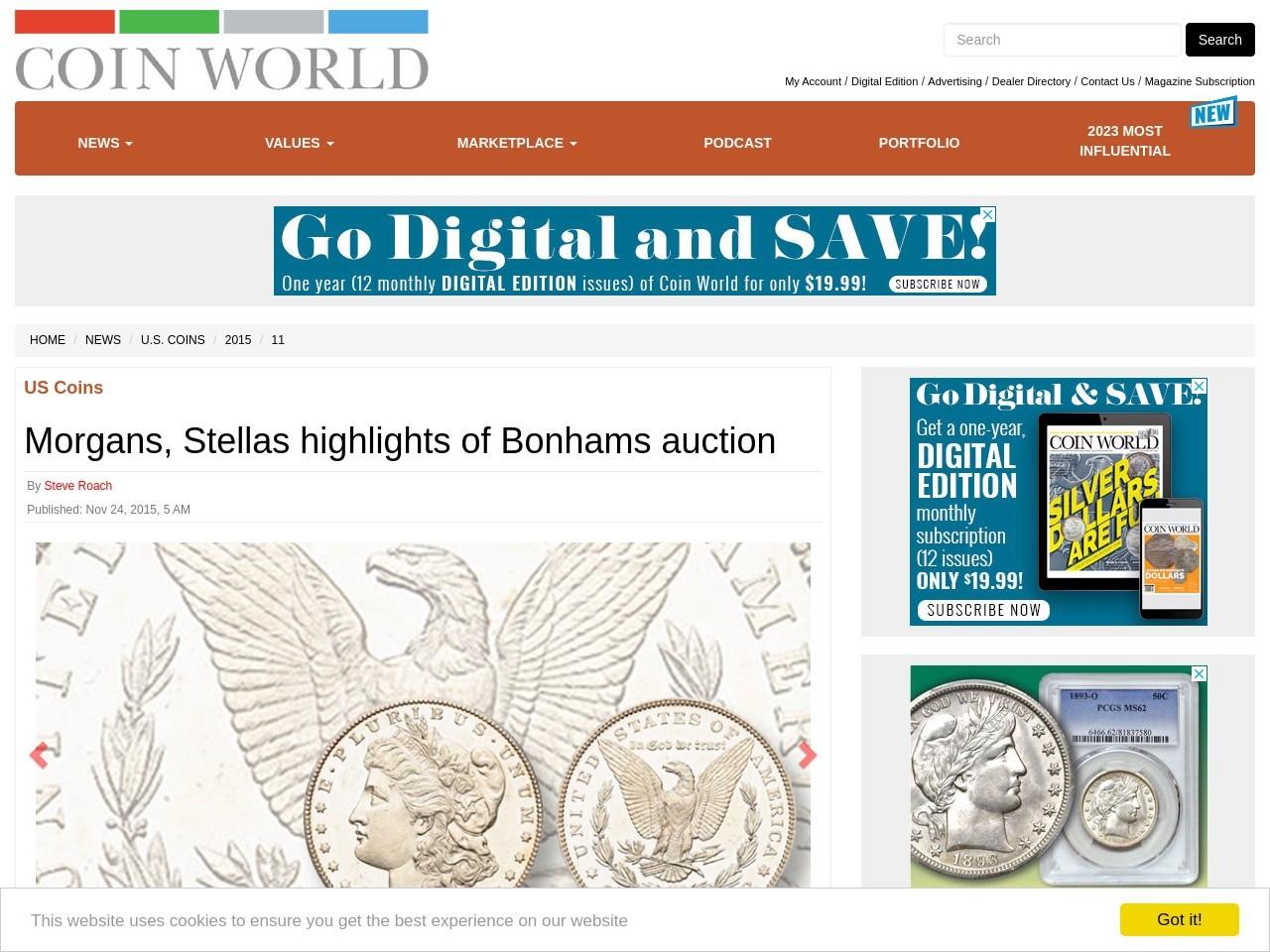 Morgans, Stellas highlights of Bonhams auction | Coin World