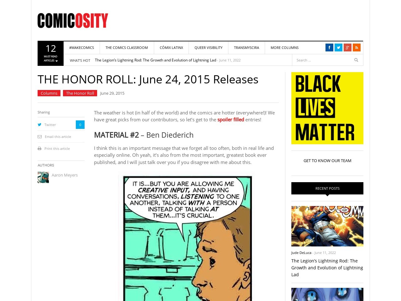 THE HONOR ROLL: June 24, 2015 Releases
