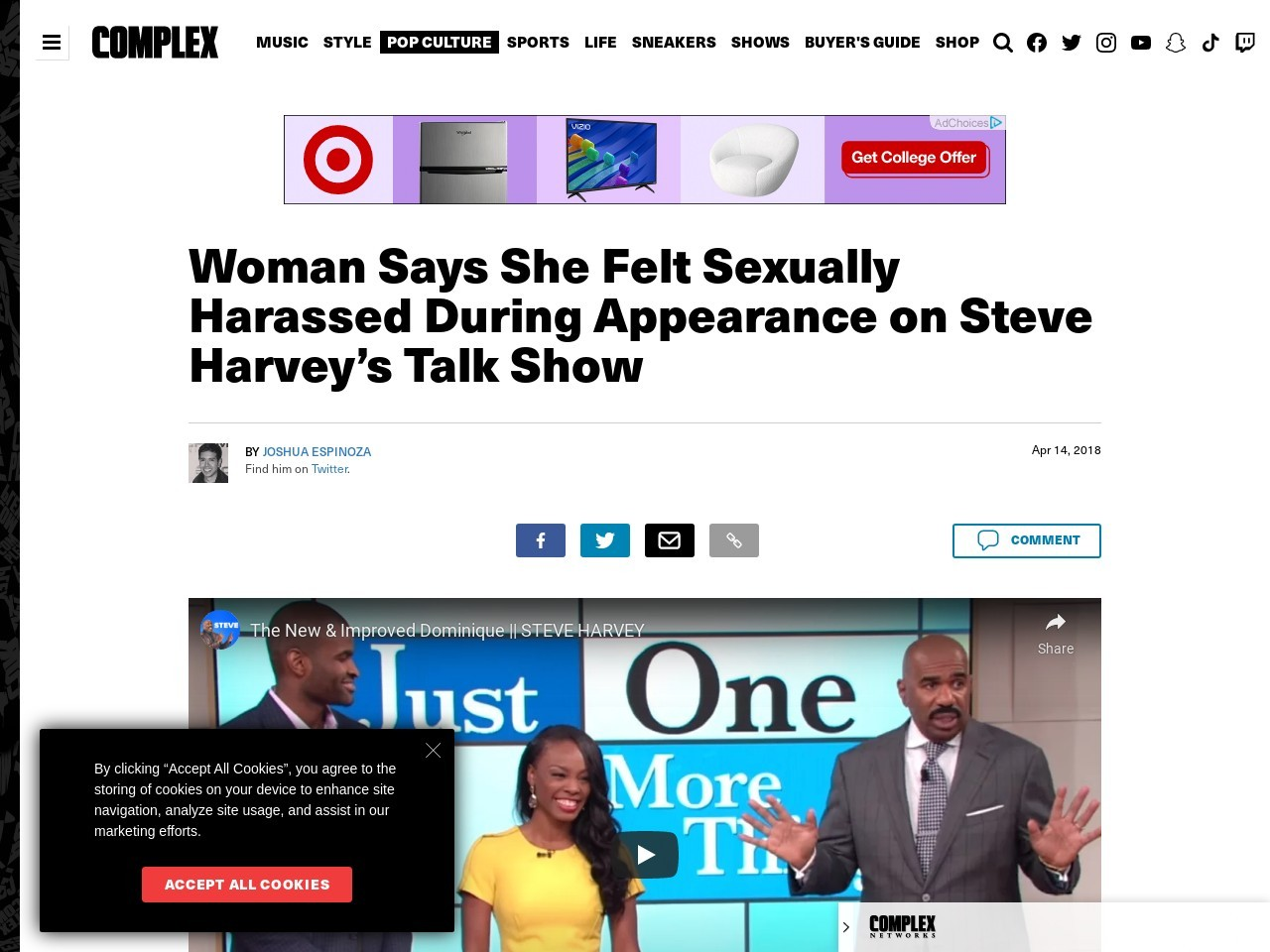 Woman Says She Felt Sexually Harassed During Appearance on Steve…