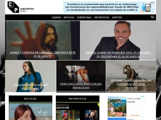 Captura de pantalla para conciertosperu.com.pe