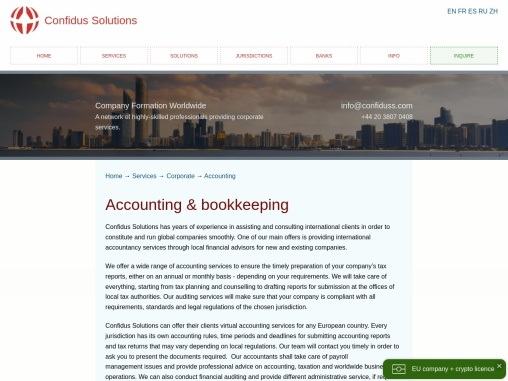 Accounting and bookkeeping, international accounting