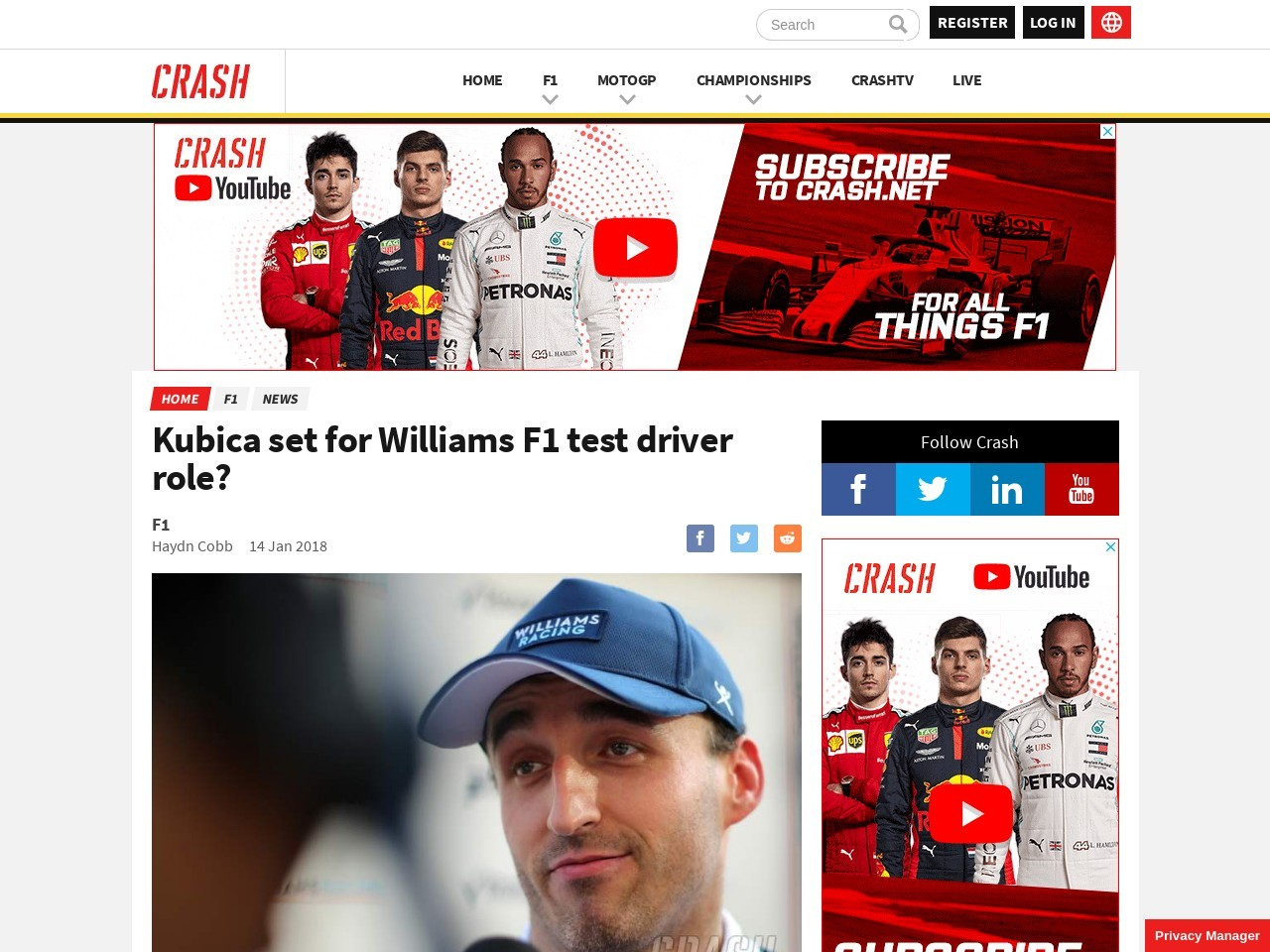 Kubica set for Williams F1 test driver position?