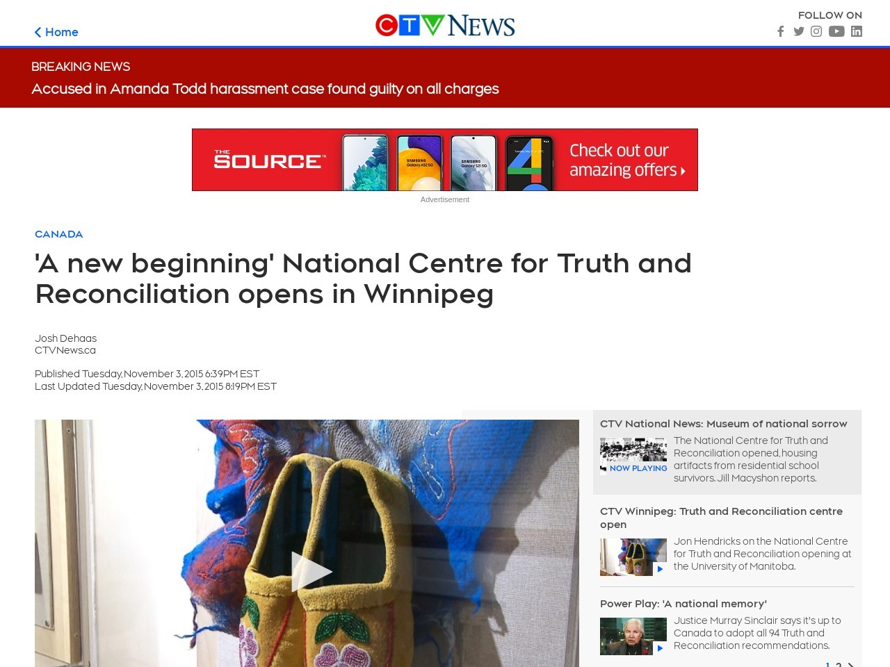 'A new beginning' National Centre for Truth and … – CTV News