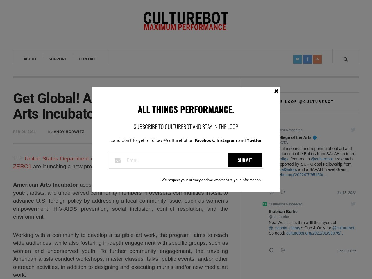 Culturebot | Get Global! Apply to the American Arts Incubator