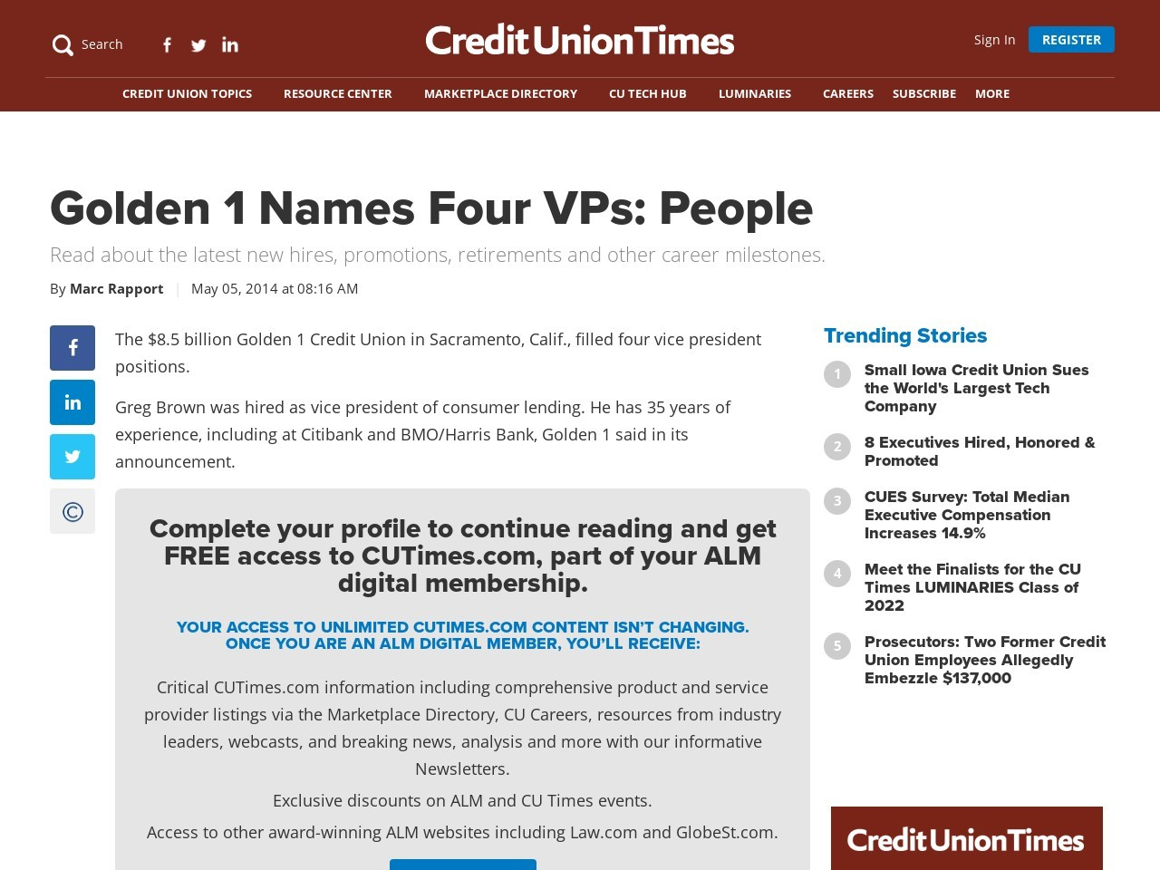 Golden 1 Names Four VPs: People