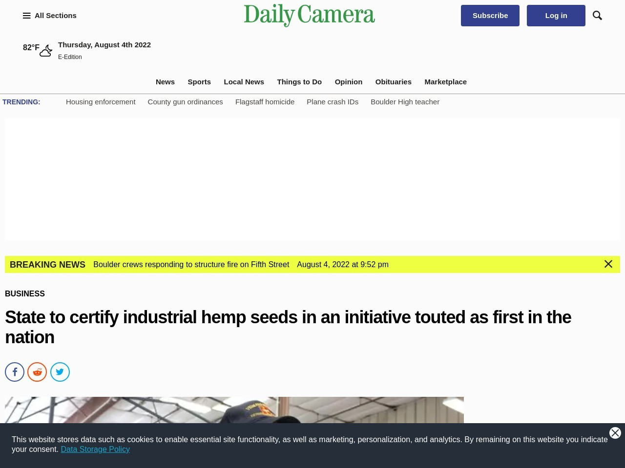 State to certify industrial hemp seeds in an initiative touted as first in the …