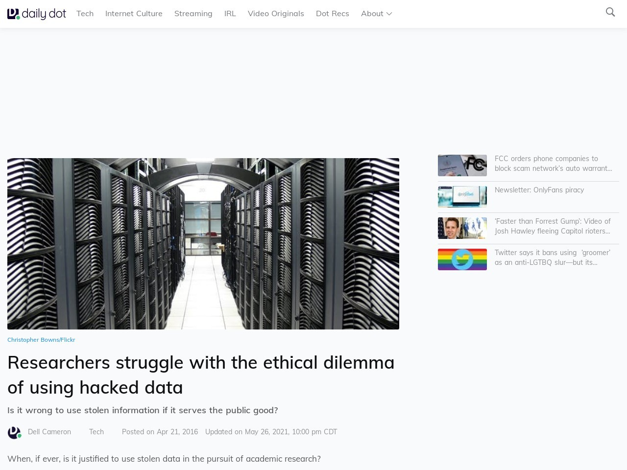 Researchers struggle with the ethical dilemma of using hacked data